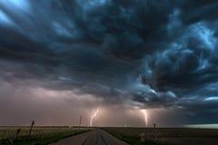 Błyskawicowa burza nad polem w Roswell Nowym - Mexico Zdjęcie Royalty Free