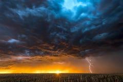 Błyskawicowa burza nad polem w Roswell Nowym - Mexico Fotografia Royalty Free