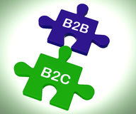 B2B And B2C Puzzle Shows Corporate Partnership Or Consumer Relat Royalty Free Stock Image