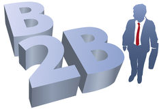 B2B Business man ecommerce. Business man and B2B symbol for e-commerce and e-business to business