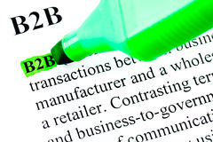 B2B Definition markiert im Grün Stockbild