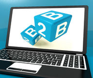 B2b Dice On Laptop Computer Shows Business And Commerce Stock Photography