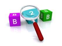 B2B und Vergrößerungsglas Lizenzfreies Stockfoto