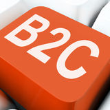 B2c Key Means Business To Consumer Selling Or Buying Royalty Free Stock Image