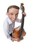Baß-viol Spieler auf weißem Hintergrund Lizenzfreies Stockfoto