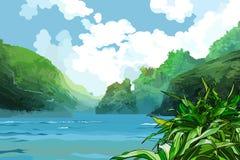 Baía bonita da paisagem entre montanhas verdes ilustração stock