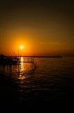 Baía calma do por do sol Fotografia de Stock