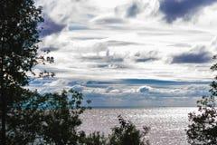 Baía da água para árvores com céu azul Imagem de Stock