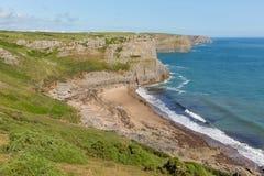 Baía da queda Gower Wales BRITÂNICO próximo à praia de Rhossili e à baía de Mewslade Imagem de Stock