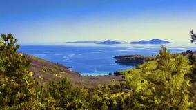 Baía de Alonissos - efeito da pintura a óleo ilustração royalty free