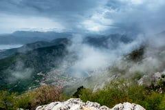 Baía de Boka Kotor de cima de montenegro fotos de stock royalty free