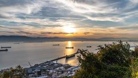 Baía de Gibraltar no por do sol Foto de Stock Royalty Free