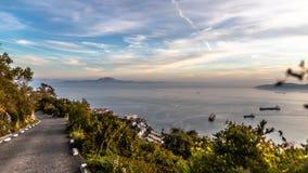 Baía de Gibraltar no por do sol Fotografia de Stock Royalty Free