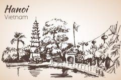 Baía de Hanoi com pagode vietnam ilustração royalty free