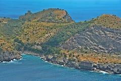 A baía de Ieranto na península do ` s de Sorrento Fotografia de Stock Royalty Free
