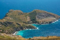 A baía de Ieranto na península do ` s de Sorrento Fotos de Stock Royalty Free