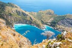 A baía de Ieranto na península do ` s de Sorrento Imagem de Stock Royalty Free
