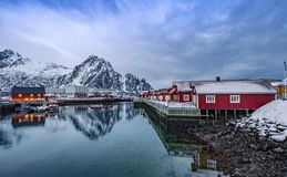 Baía de ilhas Noruega de Slvolvaer Lofoten Fotos de Stock
