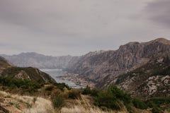 Baía de Kotor das alturas fotografia de stock