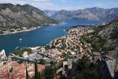 Baía de Kotor das alturas Montenegro fotografia de stock
