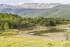 Baía de Lapataia, Tierra del Fuego National Park imagens de stock royalty free
