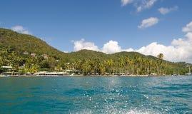 Baía de Marigot - ilha tropical de St Lucia Fotografia de Stock Royalty Free