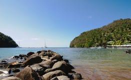 Baía de Marigot - ilha tropical de St Lucia Fotografia de Stock