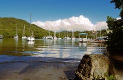 Baía de Marigot - ilha tropical de St Lucia Imagens de Stock