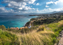 Baía de Mirampelou perto de Aghios Nikolaos Imagens de Stock Royalty Free