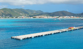 Baía de Simpson e grande baía - Philipsburg Sint Maarten - ilha tropical das caraíbas Imagem de Stock