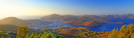 Baía de Skala, ilha de Patmos foto de stock
