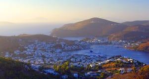 Baía de Skala na ilha de Patmos imagem de stock royalty free