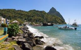 Baía de Soufriere - pequeno área do pitão - St Lucia Imagens de Stock