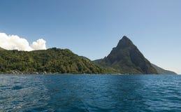 Baía de Soufriere - pequeno área do pitão - St Lucia Fotos de Stock Royalty Free