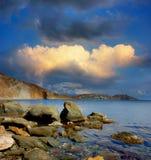 Baía de Tikhaya, Crimeia, perto de Feodosiya Fotografia de Stock