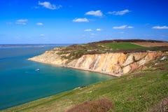 Baía do alume a ilha das agulhas do Wight Imagens de Stock