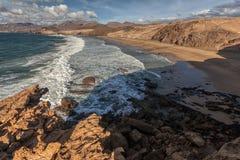 Baía do La descascada, Fuerteventura, Ilhas Canárias Foto de Stock Royalty Free