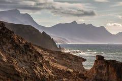 Baía do La descascada, Fuerteventura, Ilhas Canárias Imagem de Stock