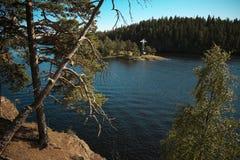 Baía do monastério de Valaam da ilha. Imagens de Stock Royalty Free