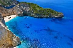 Baía do naufrágio, Zakynthos Fotografia de Stock