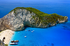 Baía do naufrágio, Zakynthos Imagens de Stock