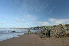 Baía em Bristol Channel, Devon norte de Woolacombe Fotografia de Stock Royalty Free