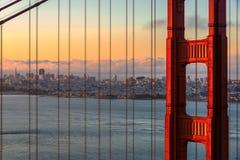 Baía em San Francisco no nascer do sol, Califórnia do Golden Gate fotografia de stock royalty free