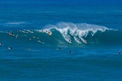 Baía grande de Waimea da onda embalada imagem de stock royalty free