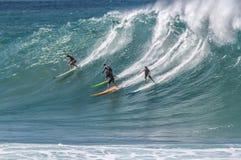 Baía HI de Waimea, surfistas que montam uma onda fotografia de stock royalty free