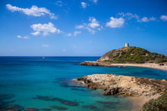 Baía Itália Sardinia de Torre de Chia fotografia de stock