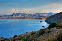 Baía Kapsel, Crimeia, perto de Feodosiya Fotografia de Stock