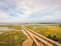 Baía móvel e ponte 10 de um estado a outro em um dia do outono Fotografia de Stock Royalty Free
