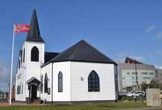 Baía norueguesa de Cardiff da igreja, Gales fotografia de stock royalty free