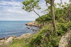 Baía o Mar Negro do mar baía no Mar Negro Penhascos e mar Imagem de Stock